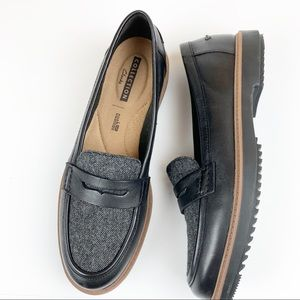 Clarks Collection tweed leather black loafer shoes